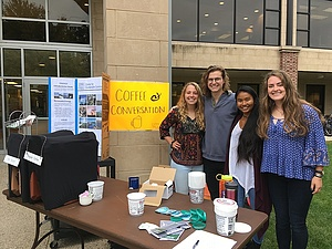 Kim Chham '21 (second from right) along with her fellow sustainability educators (Abbie Jo Madson '20, Sean McKenzie '20, Samantha Clements '19) facilitating Coffee & Conversation Event. (Photo taken Fall 2018)