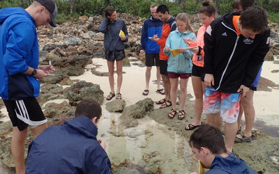 Students take notes during a tidal pool walk.