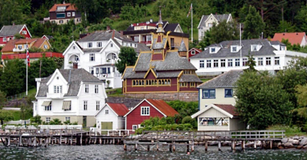 Colorful sea-side houses in a Norwegian village