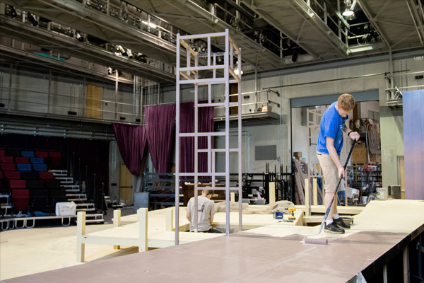 "Students work to create the set for Shakespeare's ""Twelfth Night."""