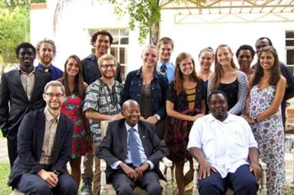 Group photo with Sir Ketumile Masir (seated, center).