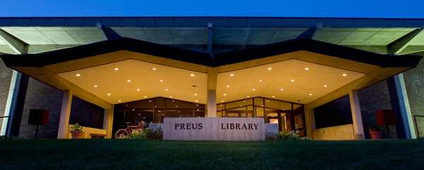 A view of Preus Library at dusk.