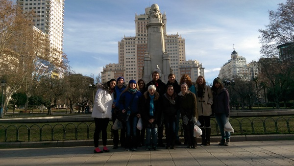 Plaza de España, our first stop for the day. Directly behind us is El Edeficio España (The Spain Building), and to the far left is el Torre de Madrid (Tower of Madrid).