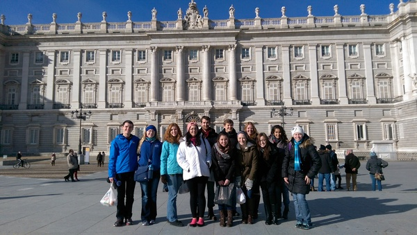 All of us in front of El Palacio Real de Madrid (Royal Palace of Madrid). We were all pretty surprised it was actually sunny today...