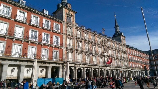 The Plaza Mayor (Main Square) of Madrid. Compared to Salamanca's Plaza Mayor, this one is bigger and isn't a trapezoid...