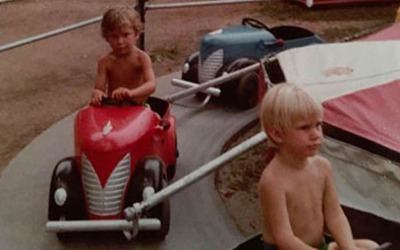 Andrew Hageman (left) and B.J. Nichols (right) 40 years ago this July.