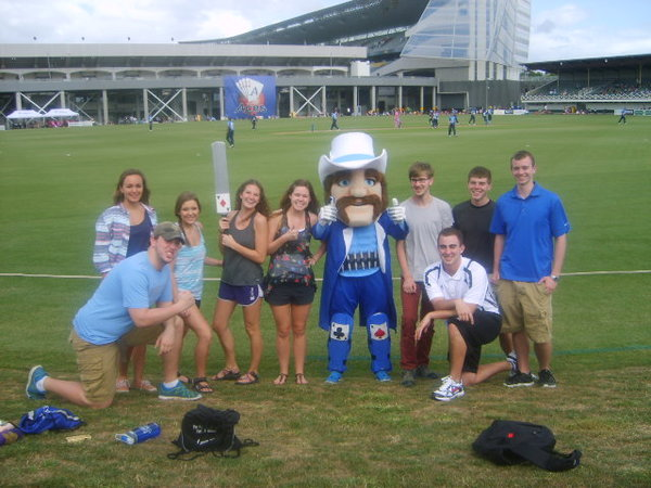 Us at the Auckland Aces game with our new friend Ace!