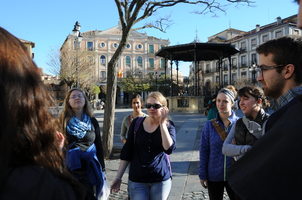 Learning about the Plaza Mayor of Segovia - we were actually more interested in it than this photo makes it seem, by the way.