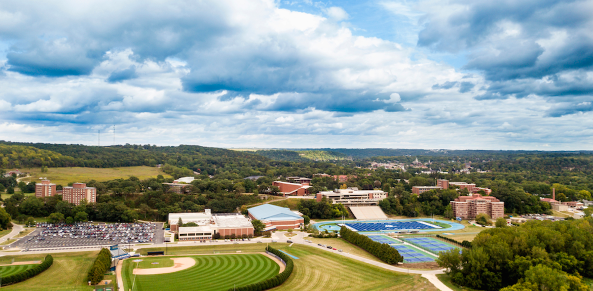 An arial view of Luther's campus.