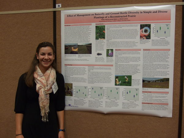 Nikki McDermond-Spies with award-winning poster in Plant-Insect Ecosystem poster competition at 2012 NCB-ESA meeting in Lincoln, Nebraska.
