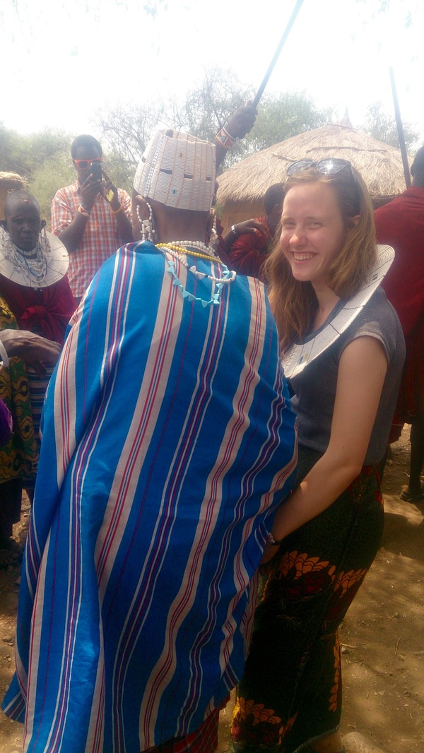 Allie dancing with the Mamas at the he Napok Women's Development Project.