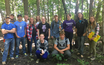Luther students at the Weigle-Roslien woodland area.