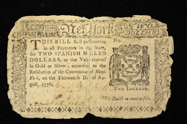 "A 1776 New York Colonial Note worth ""two Spanish milled dollars."""
