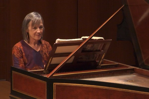 Professor Kathy Reed playing the harpsichord