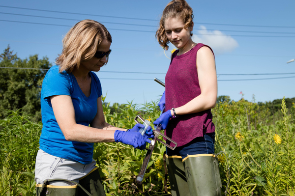 "Jodi Enos-Berlage, left, and Martel Den Hartog, right, use a soil corer to collect soil from Anderson Prairie on the Luther Campus.<a href=""/reason/images/826061_orig.jpg"" title=""High res"">∝</a>"