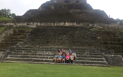 The Luther group poses in front of El Castillo at Xunantunich.
