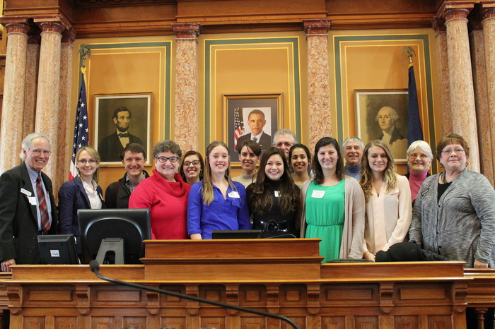 2016 Social Policy class and mentors with Representatives Mascher and Anderson in the House of Representatives chamber