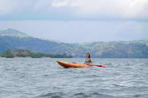 Rozlyn Paradis '18 kayaking on one of the largest lakes in Africa: Lake Kivu.