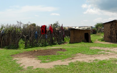 A Maasai hut and cattle kraal in the village of Loliondo.