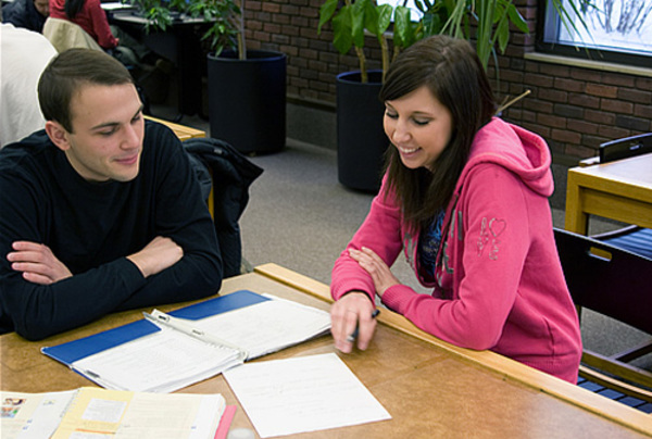 Students learning together at the tutoring center.