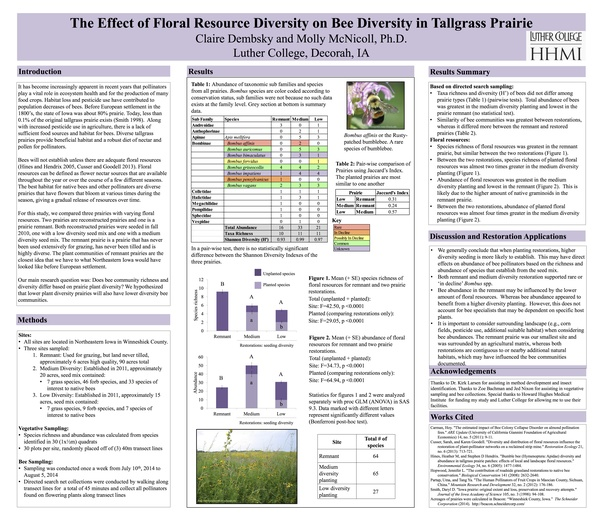 Student Research Poster: The Effect of Floral Resource Diversity on Bee Diversity in Tallgrass Prairie