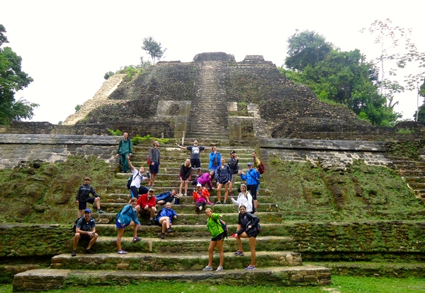 "The troop at the High Temple, at Lamanai an archeological site of Mayan ruins in the Orange Walk district of Belize.<a href=""/reason/images/597117_orig.jpg"" title=""High res"">∝</a>"