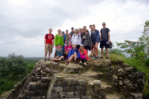Students on the top of the high temple.
