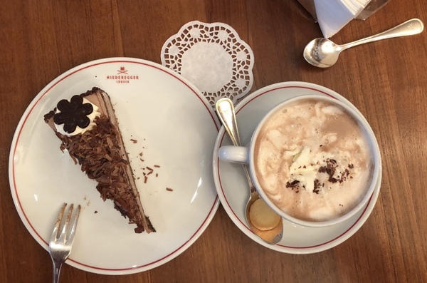 "Marzipan Hot Chocolate and Chocolate Mousse Cake!!! Can it get any sweeter???<a href=""/reason/images/809123_orig.jpg"" title=""High res"">&prop;</a>"