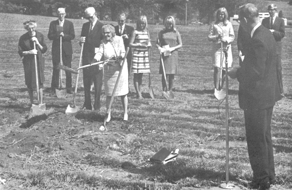 Preus History - President Farwell looks on while the Preus family participates in the groundbreaking for Preus Library.