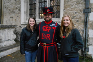 History student Maja Proescholdt at the Tower of London with fellow Nottingham semester participant Sarah King.