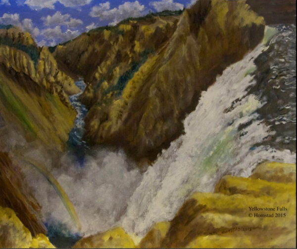 Yellowstone Falls, WY, painted by Carl Homstad