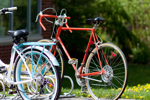 Bikes on Luther's campus.