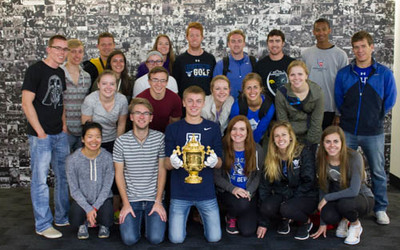 Group holding the Rugby World Cup.