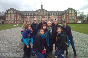 Students part of the Münster study abroad semester posing for a group picture.