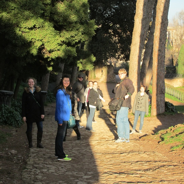 "The group pauses for a scenic photo at the Roman Forum.<a href=""/reason/images/603150_orig.jpg"" title=""High res"">∝</a>"