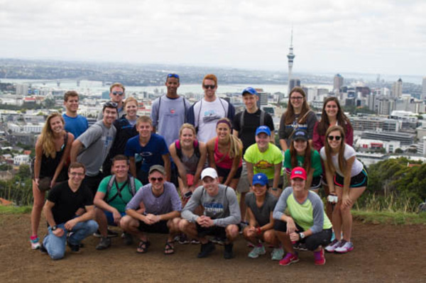 The group pictured over the city of Auckland.