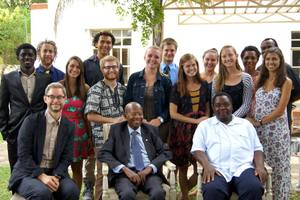 Students and Professor Richard Mtisi pose for a group picture during their meeting with Sir Ketumile Masire, who was the second President of Botswana from 1980 to 1998.