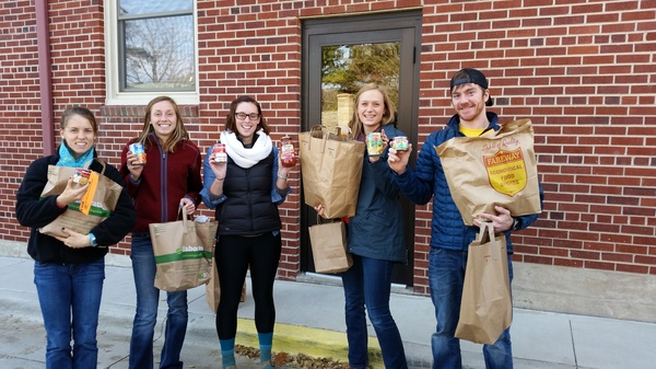 SHOC members prepare to deliver food items collected at Trick-or-Canning to Decorah First Lutheran's Food Pantry.