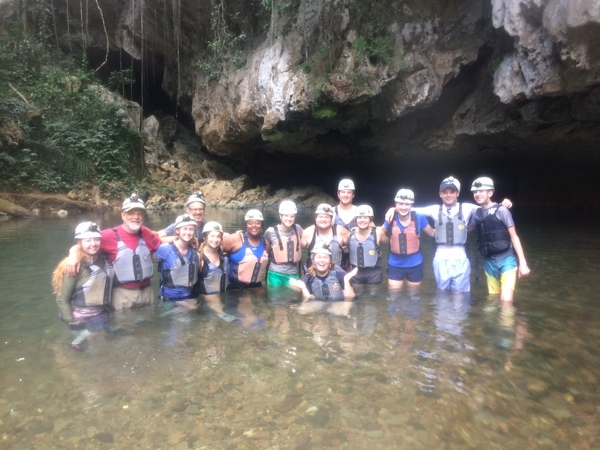 "The class splashes around before cave tubing.<a href=""/reason/images/798179_orig.jpg"" title=""High res"">∝</a>"