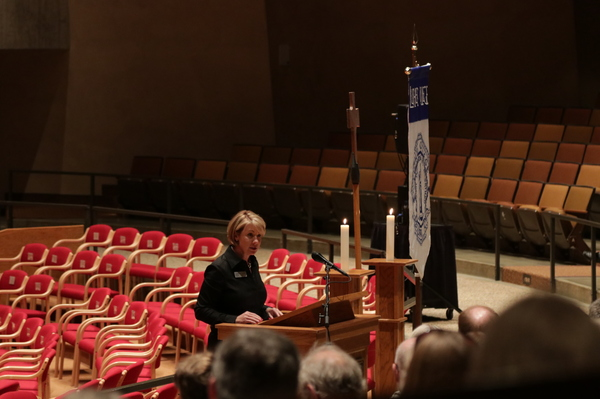 "Wendy Davidson, chair of Luther College's Board of Regents, gave remarks on behalf of the Board at the 2018 Service of Dedication.<a href=""/reason/images/828182_orig.jpg"" title=""High res"">∝</a>"