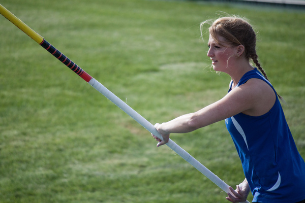 A Luther track and field member getting ready for the pole vault event.