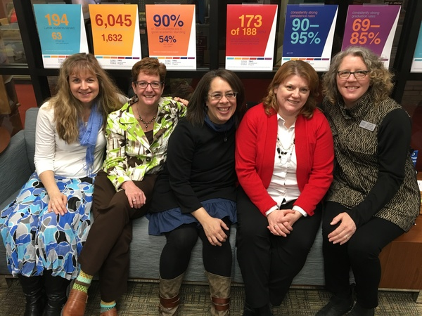 The TRIO team includes (L-R) Jennifer Folstad, Tammy Hove, Chivonne Marlow, Cheryl Wieseler and Heather Cote.