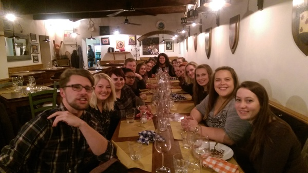 "The entire group went out for a delicious dinner at a restaurant called Trattoria in Florence. Great food, greater conversation! Sorry for the face I'm making and thank you James for the photo!<a href=""/reason/images/672196_orig.jpg"" title=""High res"">∝</a>"
