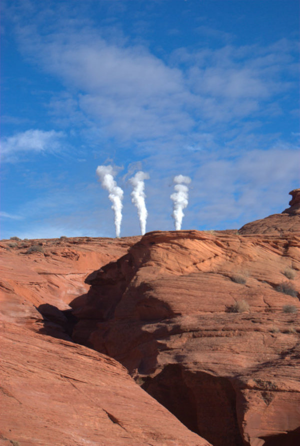 "Smoke stacks from the plant hide behind canyon slopes, taken by Dr. Baack<a href=""/reason/images/521200_orig.jpg"" title=""High res"">&prop;</a>"