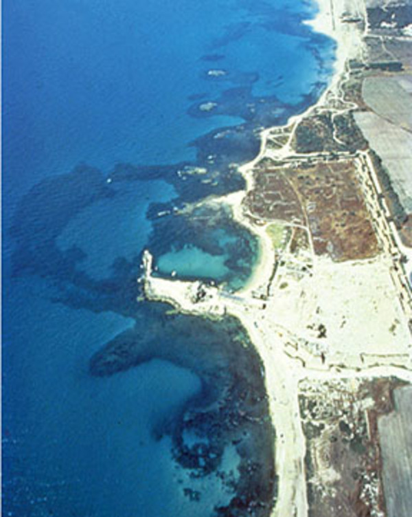 Fig. 1. Aerial view of the ruins of Caesarea Maritima. The darker areas offshore mark the submerged harbor remains.