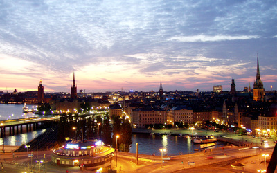 An image of Stockholm at night.