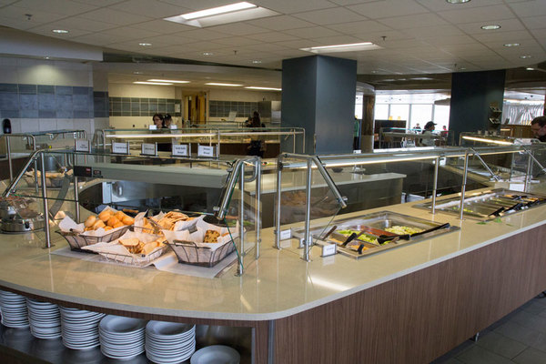 Luther's cafeteria features a variety of food options such as a complete salad bar.