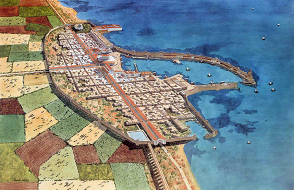 Fig. 3. The city and harbor of Caesarea Maritima in the first century.