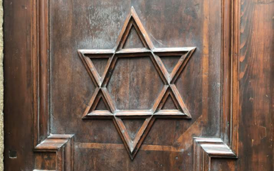 The door of the Pinkas Synagogue in Prague, Czech Republic.