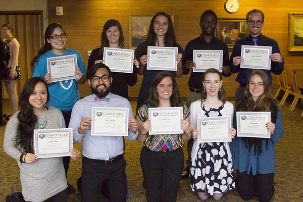 Launching Luther Leader seniors with their awards at the Leadership Awards Banquet. Front row (l to r): Jessica Tan, Jesus Lucero, Laura Vestle, Elizabeth Hurley and Erika Balk. Back Row: Sandra Cardenas, Alexandra Hein, Hailey Johnson, Takudzwa Chawota and Carter Johnson.